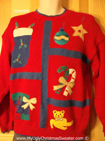 Tacky Retro 80s Cheesy Holiday Sweater with Stocking Bear Candycane Gift and Ornaments and Padded Shoulders (f1143)