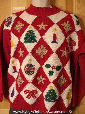 Tacky Cheesy Holiday Sweater with Red and White Diagonal Grid of Candle Tree CandyCane Ornaments and Snowflakes (f1145)