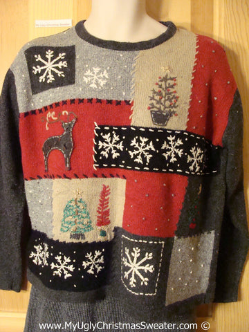 Patchwork Grid Style Tacky Cheesy Holiday Sweater with Reindeer Snowflakes and Trees (f1147)