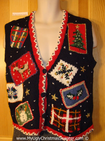Tacky Cheesy Holiday Sweater Vest with Crafty Patchwork Pattern of Plaid Boxes Tree Reindeer Snowman and Snowflake (f1149)