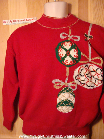 Tacky Ugly Christmas Sweater Classic 80s Acrylic with Bling Ornaments (f114)