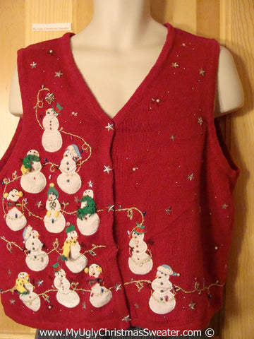 Tacky Cheesy Holiday Sweater Vest with Snowman Pyramid  (f1151)