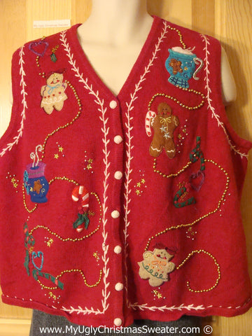 Gingerbread Man Tacky Cheesy Holiday Sweater Vest with Bling (f1153)
