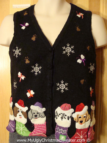 Dog Themed Tacky Cheesy Holiday Sweater Vest with Puppies in Stocking with Floating Bones with Bows  (f1154)