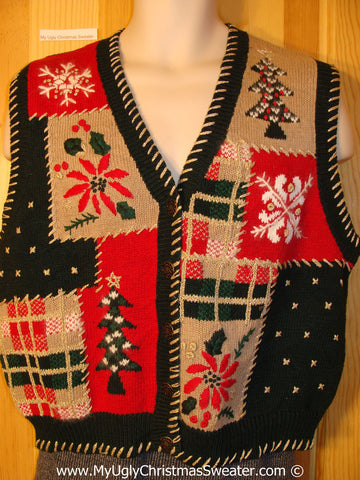 Plaid Patchwork Themed Tacky Cheesy Holiday Sweater Vest with Poinsettias Snowflakes and Trees (f1156)