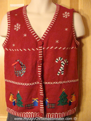 Tacky Cheesy Holiday Sweater Vest with Grid of Snowflakes Candycane Wreath Tree and Gifts and a Crafty Embroidered Trim  (f1157)