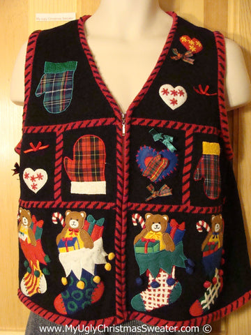 Tacky Plaid Themed Cheesy Holiday Sweater Vest with Mittens and Stockings (f1158)