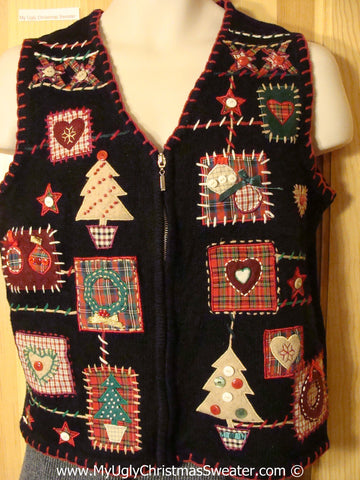 Tacky Plaid Themed Cheesy Holiday Sweater Vest with Trees and Hearts (f1159)