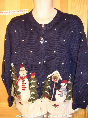 Tacky Ugly Christmas Sweater with Snowman Family in Winter Wonderland Night (f115)