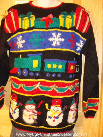 Tacky Retro 80s Classic Cheesy Holiday Sweater with Padded Shoulders (f1160)