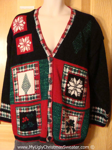 Plaid Themed Tacky Classic 80s  Cheesy Holiday Sweater Cardigan (f1162)
