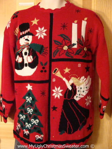 Retro Classic 80s Acrylic Tacky Cheesy Holiday Sweater with Snowman Angel Candle and Tree (f1163)