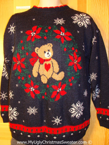 Retro 80s Classic Tacky Cheesy Holiday Sweater with Bear and Wreath and Snowflakes on Frond and Back (f1164)