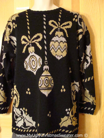 Retro 80s Classic Tacky Cheesy Holiday Sweater with Super Sized Horrid Ornaments and Ivy on Front and Back and Sleeves  (f1165)