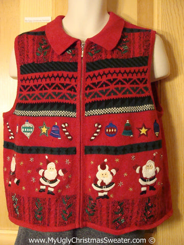 Tacky Cheesy Holiday Sweater Vest with Tap Dancing Santas  (f1166)