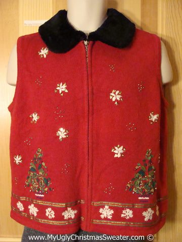 Tacky Cheesy Holiday Sweater  Vest with Bead Bling Snowflakes and Trees (f1167)