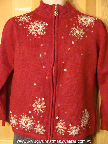 Cheap Tacky Cheesy Holiday Sweater with Snowflakes (f1168)