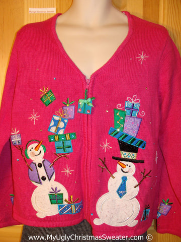Pink Colorful Tacky Cheesy Holiday Sweater with Snowman Friends and Toppling Gifts  (f1169)