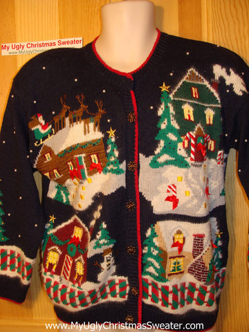 Tacky Ugly Christmas Sweater 2-sided 80s Gem with Padded Shoulders and Busy Winter Wonderland Scene - Holy Grail of Ugly ! (f116)