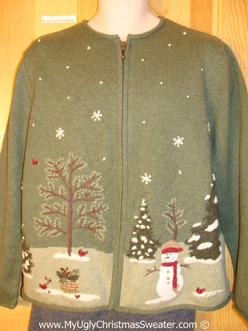 Cheap Tacky Cheesy Holiday Sweater with Snowman and Winter Wonderland (f1172)