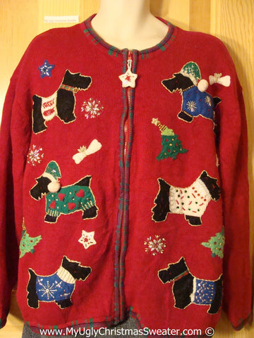 Super Sized Dog Themed Tacky Cheesy Holiday Sweater with Dogs Wearing Sweaters Sized Mens / Womens XXXL (f1173)