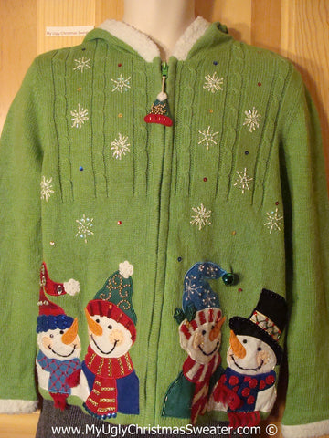 Tacky Cheesy Green Holiday Sweater Hoodie with Four Festive Snowman Friends (f1175)