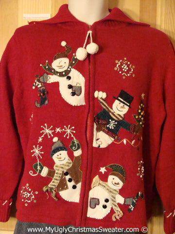 Tacky Cheesy Red Holiday Sweater with Four Snoman Friends Peaking From Center with Dangling Pom Pom Zipper Pull  (f1176)
