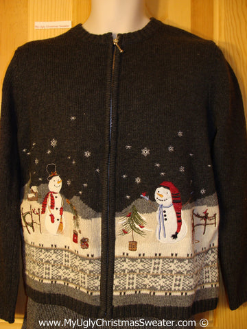 Tacky Cheesy Holiday Sweater with Snowman Friends in a Winter Wonderland (f1177)