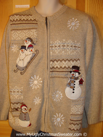 Tacky Cheesy Holiday Sweater with Snowman Friends Sledding (f1178)
