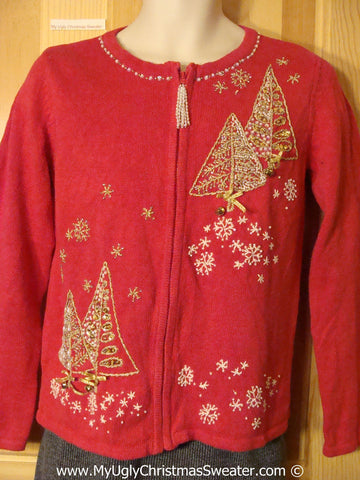 Major Bling Tacky Cheesy Holiday Sweater with Dangling Zipper Pull (f1179)