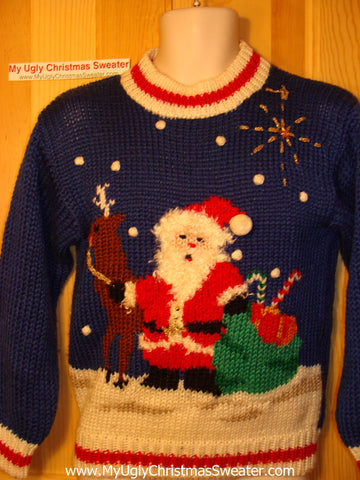 Tacky Ugly Christmas Sweater Classic Bold 80s Vintage Gem with Santa and Reindeer (f117)