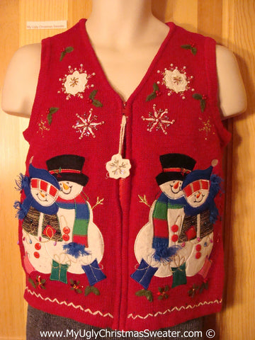 Tacky Cheesy Holiday Sweater Vest with Colorful Festive Snowman Friends and a Dangling Snowflake Zipper Pull  (f1182)