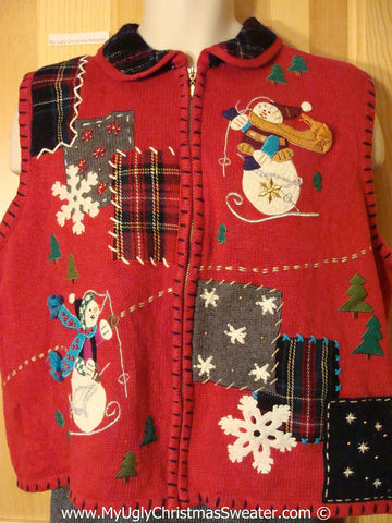 Plaid Patchwork Themed Tacky Cheesy Holiday Sweater  Vest (f1183)