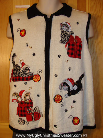 Crazy Cat Lady Tacky Cheesy Holiday Sweater Vest with Cats with Leopard Fur (f1184)