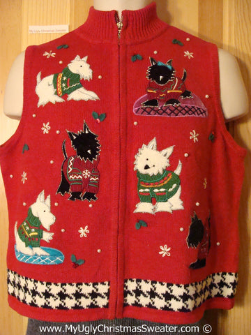 Dog Themed Tacky Cheesy Holiday Sweater Vest with Dogs Wearing Horrid Sweaters  (f1185)