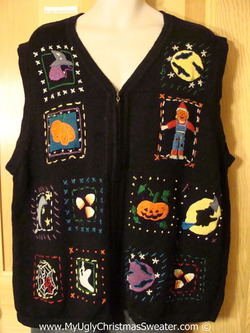 Halloween Ugly Sweater with Pumpkins, Scarecrow, Full Moon, Witch and Spider Web. Super Size for Mens or Womens XXL +    (f1186)