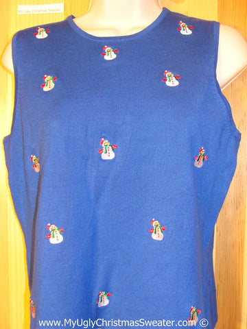 Cheap Tacky Cheesy Holiday Sweater Vest with Little Snowman Friends on Front and Back  (f1187)
