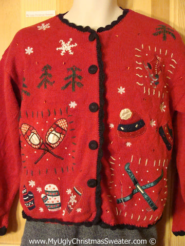 Winter Sports Themed Tacky Cheesy Holiday Sweater with Skiis Snowshoes Mittens and Skates (f1188)