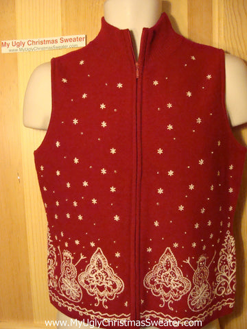 Tacky Ugly Christmas Sweater Red Wool Festive Vest (f118)