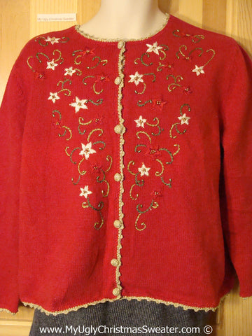 Cheap Tacky Cheesy Holiday Sweater with Red and White Poinsettias and Bead Bling (f1190)