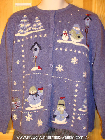 Snowman Friends in a Winter Wonderland Tacky Cheesy Holiday Sweater (f1192)
