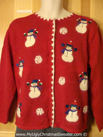 Tacky Cheesy Red Holiday Sweater with Festive Snowman Friends (f1193)