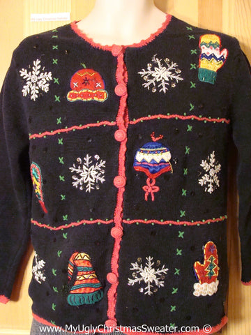 Tacky Cheesy Holiday Sweater with Mittens, Hats, and Snowflakes (f1194)