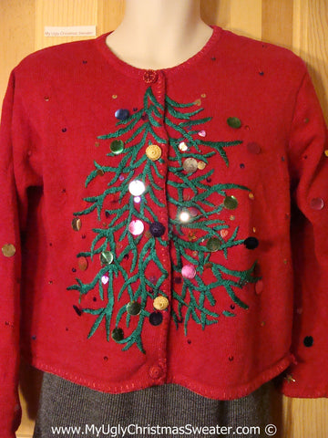 Horrid Huge Scary Tree with Sequins Tacky Cheesy Holiday Sweater 80s Style with Padded Shoulders (f1197)