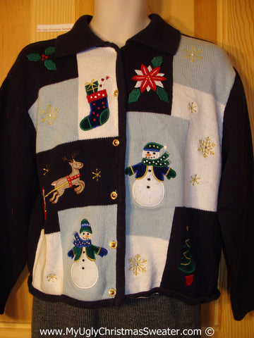 Grid Style Tacky Cheesy Holiday Sweater with Reindeer, Snowman, Poinsettia, and Snowflakes (f1198)