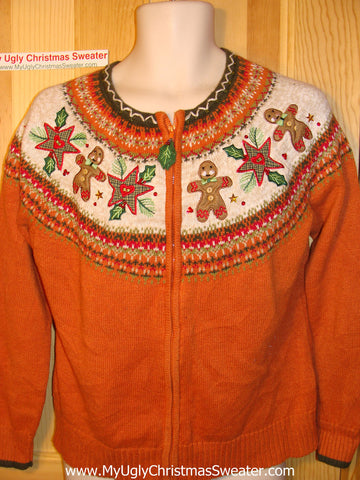 Tacky Ugly Christmas Sweater 2sided Nordic Gingerbread Yoke Pattern (f119)