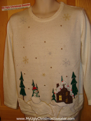 Tacky Ugly Christmas Sweater Winter Scene (f11)