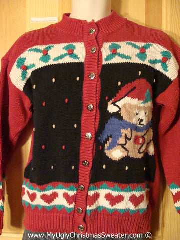 Tacky Christmas Sweater with Huge Santa Bear and Ivy and Hearts (f1200)