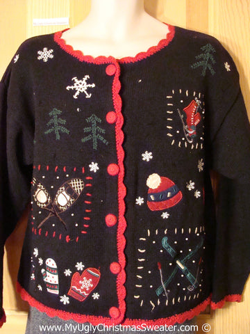 Tacky Christmas Sweater with Skiis, Snowshoes, and Skates (f1201)