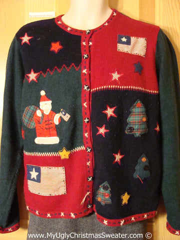 Ugly Christmas Sweater Party 80s Tacky Christmas Sweater Patriotic Theme & Padded Shoulders (f1203)